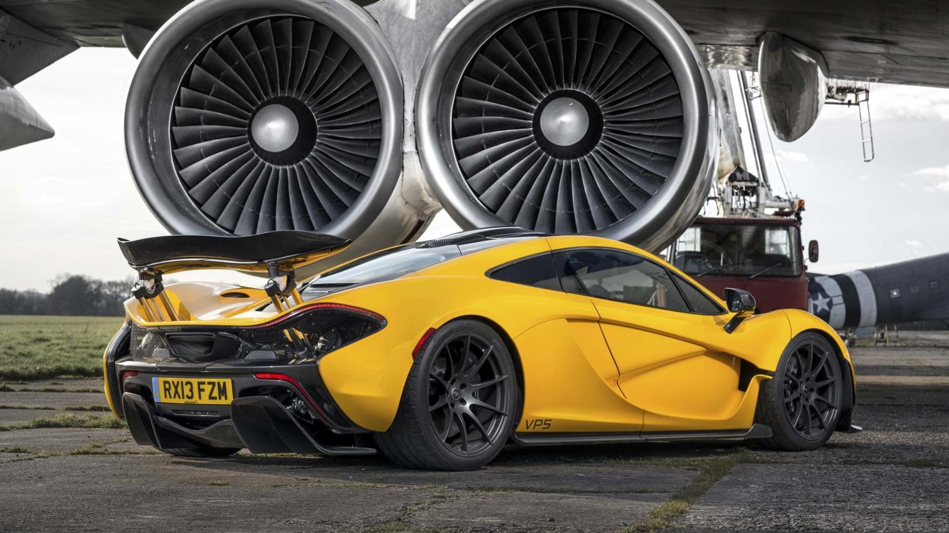 Download Wallpaper 1920x1080 Mclaren P1 Turbines Yellow Supercar Full Hd 1080p Hd Background