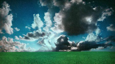 meadow, clouds, field