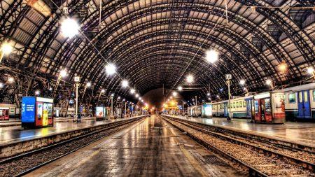 metro, night, railroad