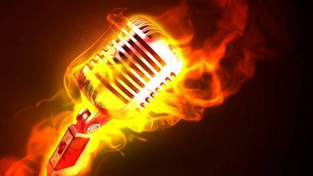 microphone, fire, flame