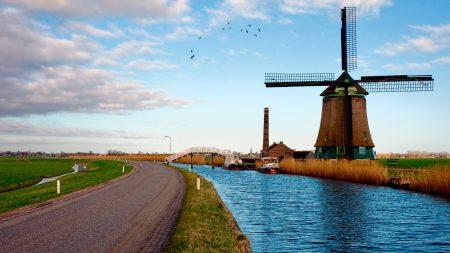 mill, river, road