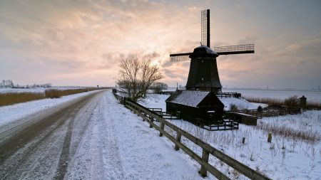 mill, winter, road