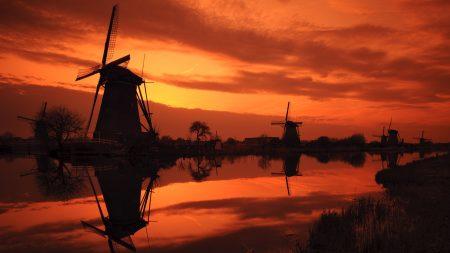 mills, dawn, grass