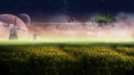 mills, moon, field