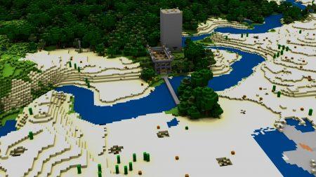 minecraft, house, bridge