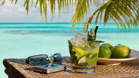 mojito, cocktail, phone