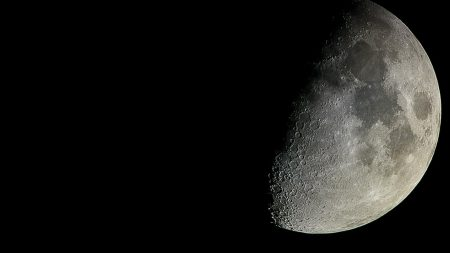 moon, craters, half