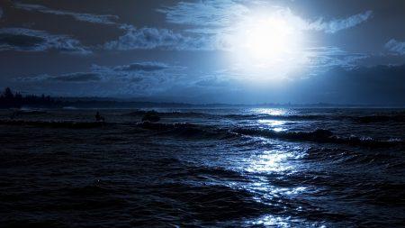 moon, night, ocean