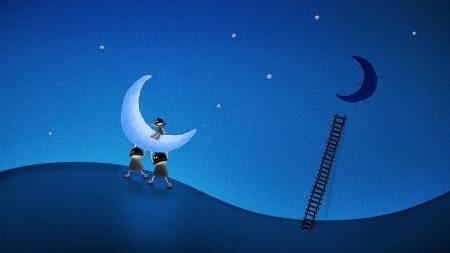 moon, people, sky