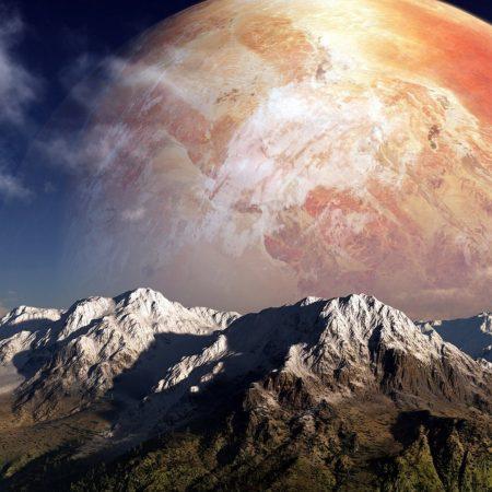 moon, sky, mountains
