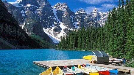 moraine lake, boats, canada