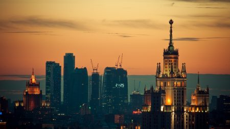 moscow, sunset, lights