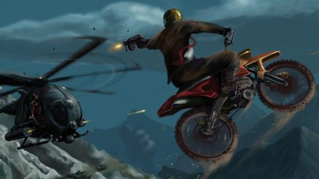motorcyclist, jump, helicopter
