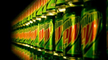 mountain dew, lemonade, soft drinks