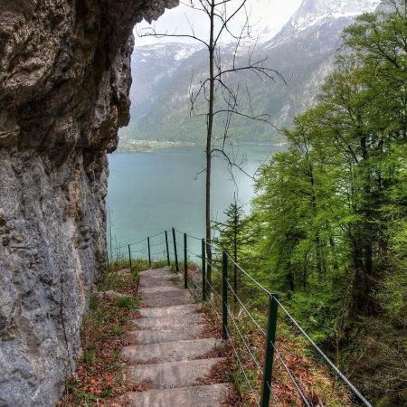 mountain, lake, rock