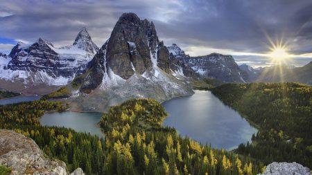 mountain, lakes, sun