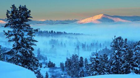 mountain, light, snow
