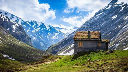 mountain lodge, top, snow