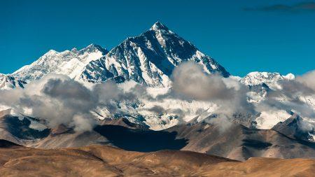 mountain, peak, clouds