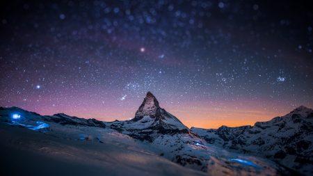 mountain, peak, stars