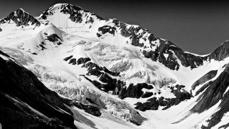 mountain, peaks, snow