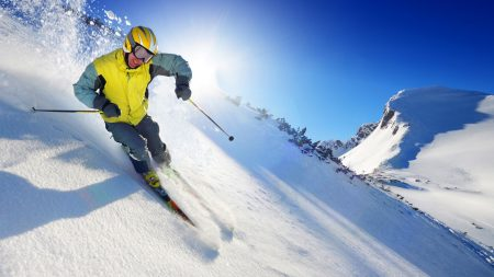 mountain skiing, descent, sportsman