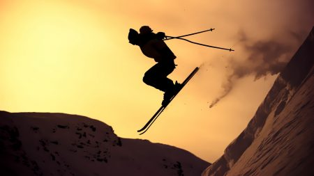 mountain skiing, jump, silhouette