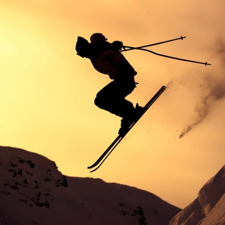mountain skiing, jump, silhouette