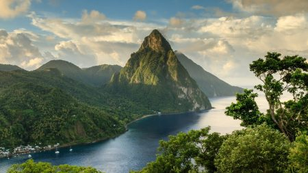 mountain, sky, lake