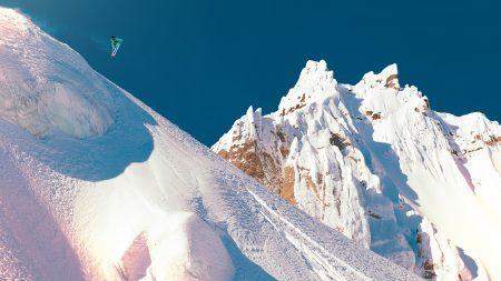 mountain, snow, descent