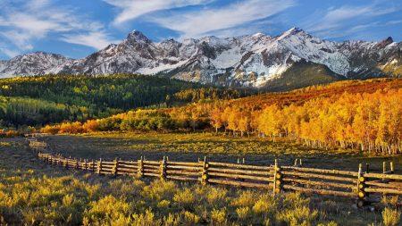 mountains, autumn, fence