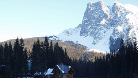 mountains, bridge, small house