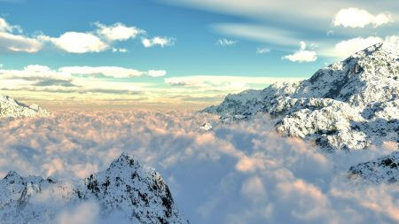 mountains, clouds, height