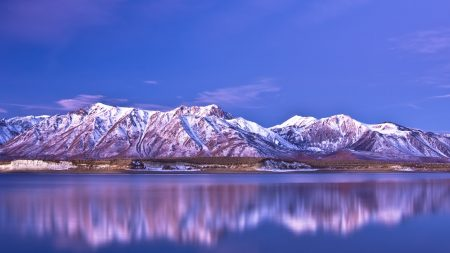 mountains, coast, snow-covered