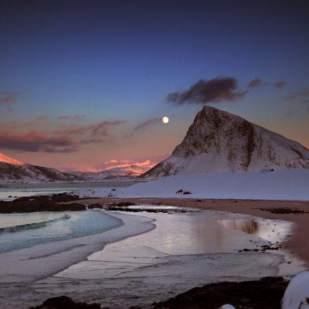 mountains, evening, moon