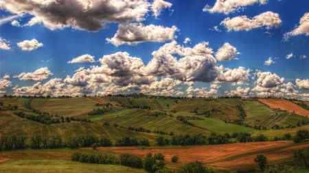mountains, fields, clouds
