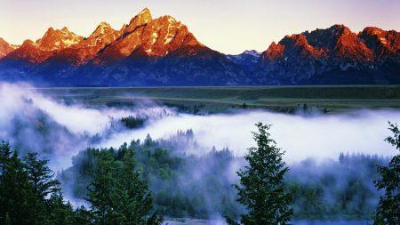 mountains, fog, height