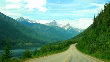 mountains, forest, road