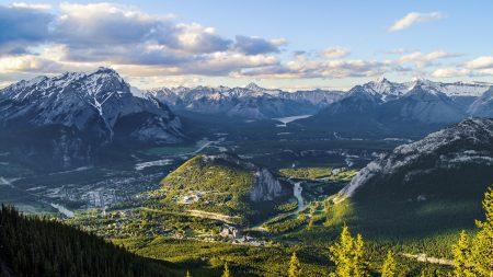 mountains, grass, top view