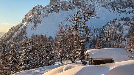 mountains, home, snow