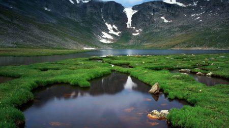 mountains, lake, grass