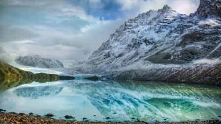 mountains, lake, ice