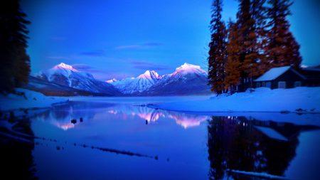 mountains, lake, lodge
