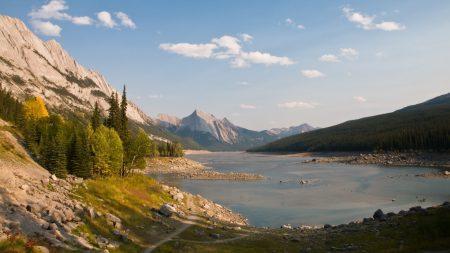 mountains, lake, shadows