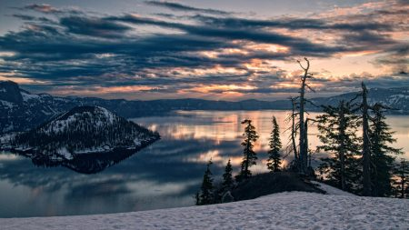 mountains, lake, volcano