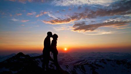 mountains, love, sky
