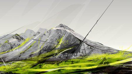 mountains, paint, light