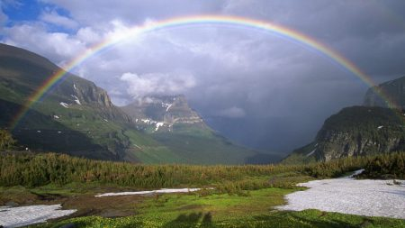 mountains, rainbow, snow