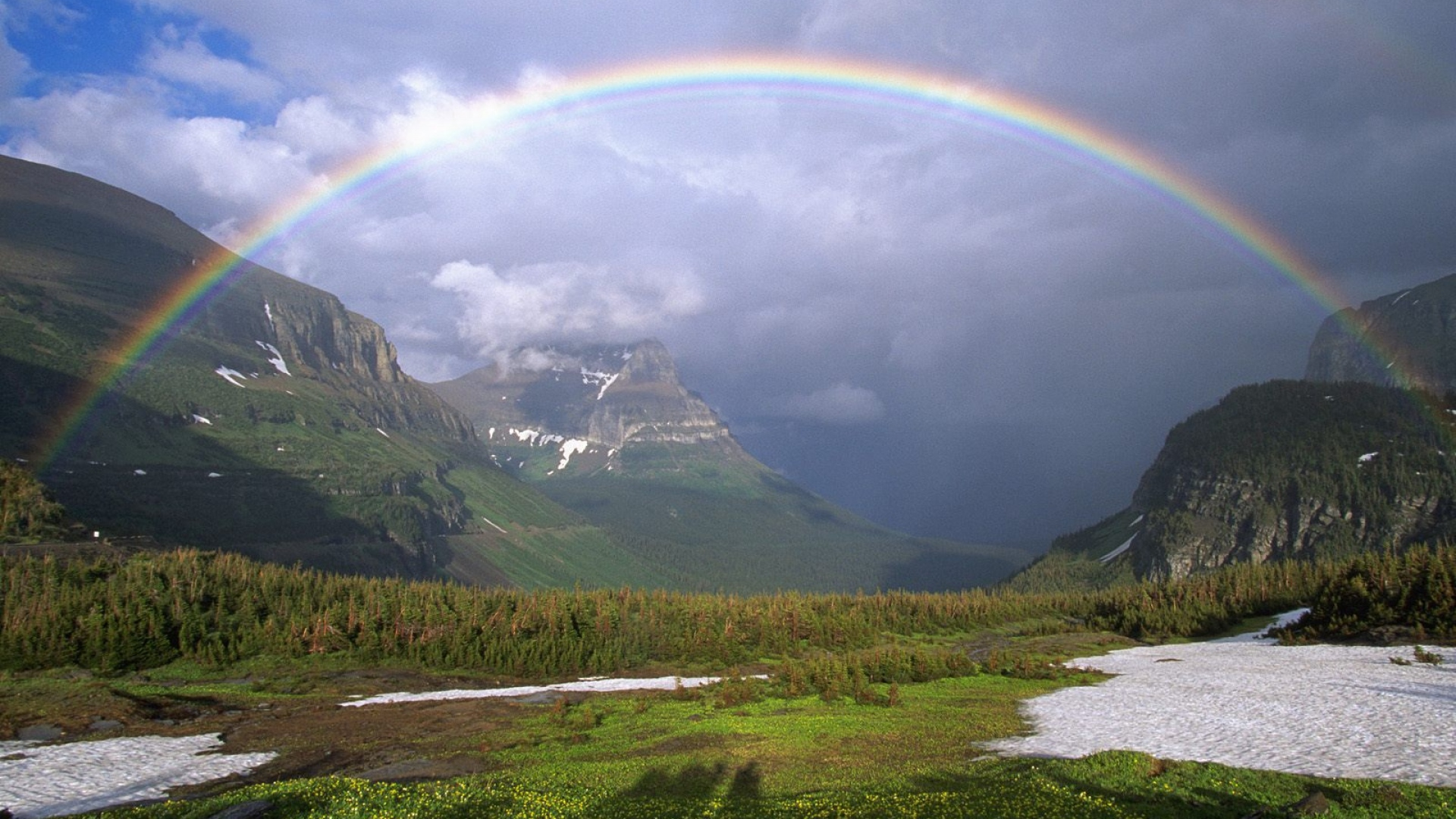 Earnings Disclaimer >> Download Wallpaper 1920x1080 mountains, rainbow, snow, greens, clouds Full HD 1080p HD Background
