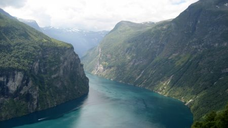mountains, river, blue
